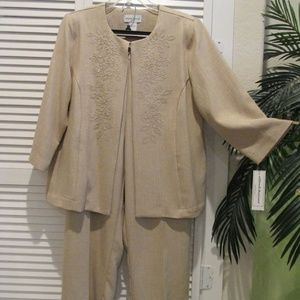Alfred Dunner tan pant suit